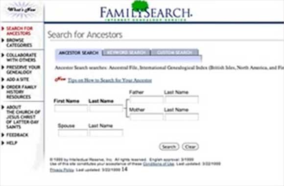 View of original familysearch.org Web site.