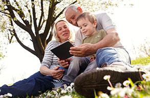 family using the memories app