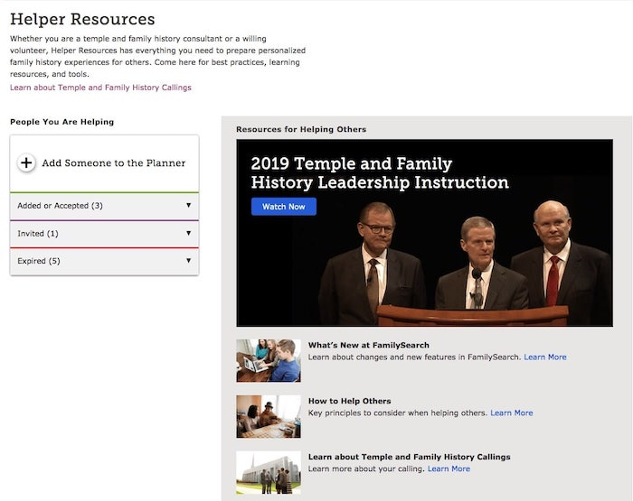 Screenshot of the Helper Resources page