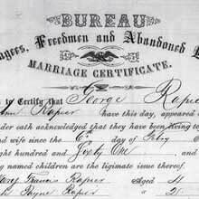 Freedmen's Bureau Project - Marriage Certificate