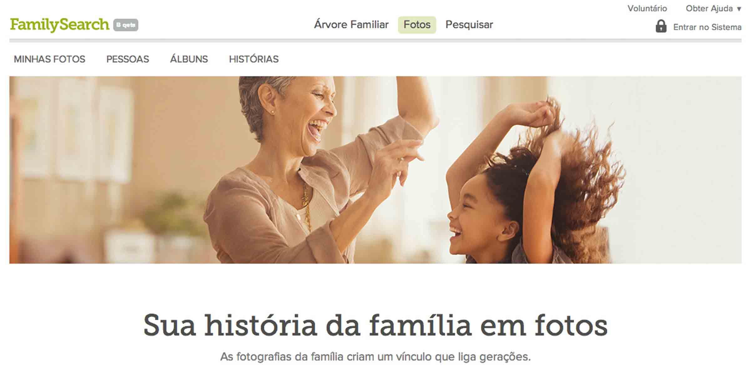 Nova experiência de navegação do FamilySearch